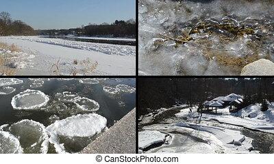 collage, rivière, hiver