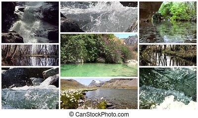 collage, rivières