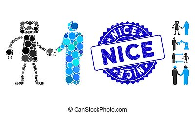 Collage Robot Human Handshake Icon with Textured Nice Seal