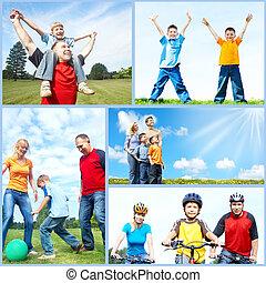 collage., rodzina, szczęśliwy