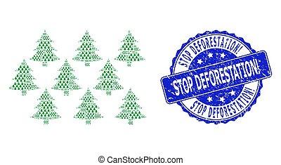 collage, ronde, stoppen, recursive, pictogram, deforestation...