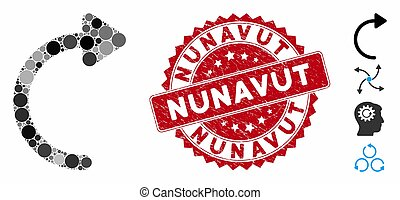 Collage Rotate CW Icon with Distress Nunavut Seal
