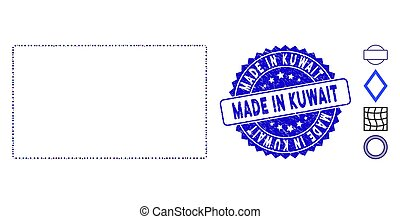 Collage Rounded Rectangle Frame Icon with Grunge Made in Kuwait Seal