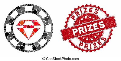 Collage Ruby Casino Chip with Textured Prizes Stamp