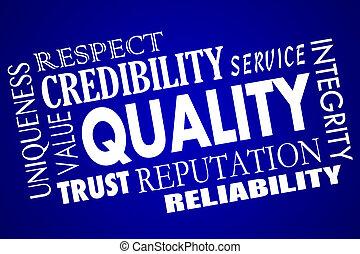 collage, ruf, qualität, respekt, wert, vorteil, konkurrenzfähig, wort