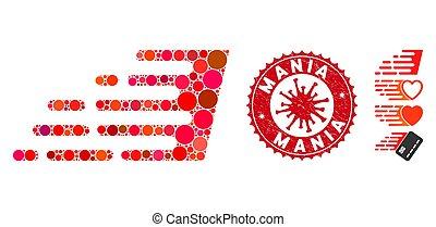 Collage Rush Effect Icon with Coronavirus Grunge Mania Seal