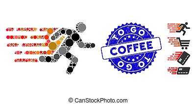 Collage Rush Running Man Icon with Scratched To Go Coffee Stamp
