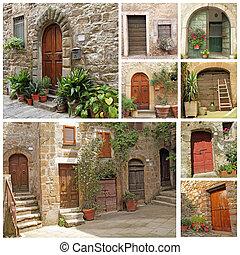 collage, rustico, porte, italiano
