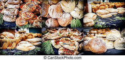 collage, rustique, boulangerie, fraîchement, pain cuit four