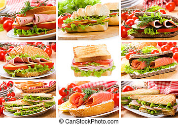 collage, sándwiches