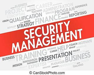 collage, sécurité, gestion, mot, nuage