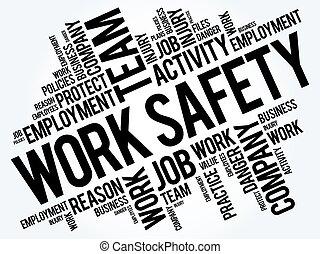 collage, sécurité, travail, mot, nuage