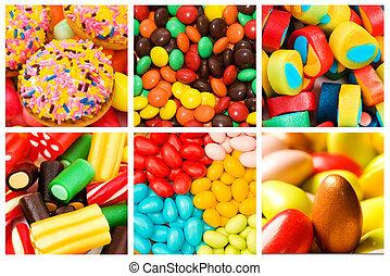 collage, süßigkeiten, verschieden