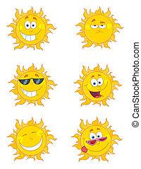 collage, słońce, cyfrowy, szczęśliwy