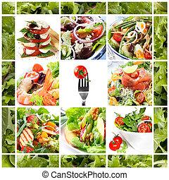 collage, sałaty, zdrowy
