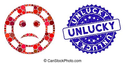 Collage Sad Casino Chip Icon with Textured Unlucky Seal