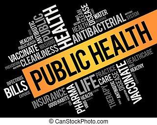 collage, salud, palabra, público, nube