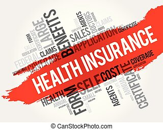 collage, salute, parola, assicurazione, nuvola