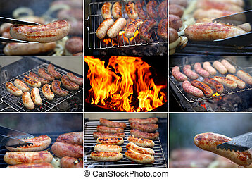 collage, sausage., ob, bbq