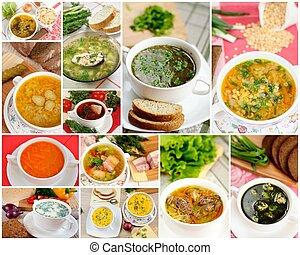 collage, savoureux, fait maison, soupes