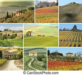 collage, scenico, toscano, paesaggio, case