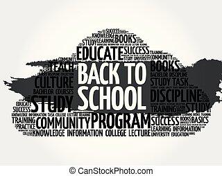 collage, school, woord, back, wolk