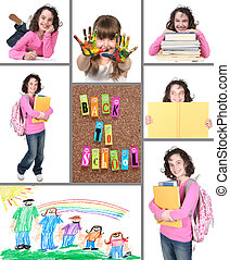 collage, schule, zurück, bunte