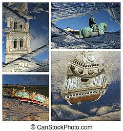 collage, señales, maravilloso, florentino, reflexión