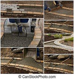 collage, sentier, construction