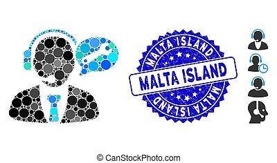 Collage Service Manager Message Icon with Distress Malta Island Stamp