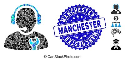 Collage Service Operator Icon with Distress Manchester Stamp