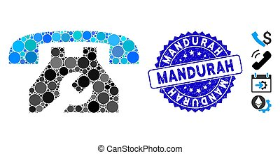 Collage Service Phone Icon with Scratched Mandurah Seal
