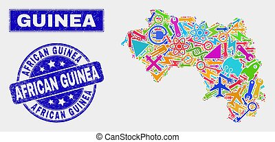Collage Service Republic of Guinea Map and Grunge African Guinea Stamp Seal