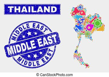 Collage Service Thailand Map and Grunge Middle East Seal