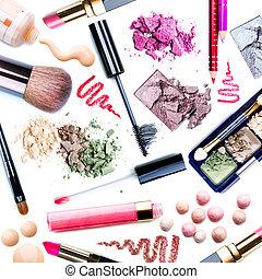 collage, set., maquillage