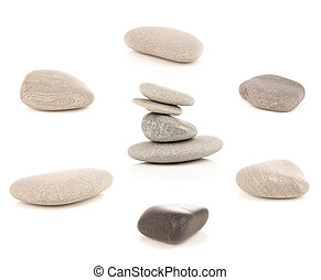 collage, set of boulders pebble stones isolated on white background