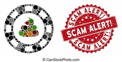 Collage Shit Casino Chip with Distress Scam Alert! Seal