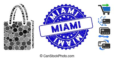 Collage Shopping Bag Icon with Textured Miami Seal