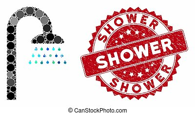 Collage Shower with Scratched Shower Stamp