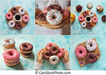 Collage showing of colorful donuts sweets.