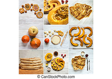 Collage showing the cooking autumn pies with pumpkin