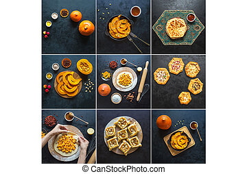 Collage showing the cooking pies with pumpkin