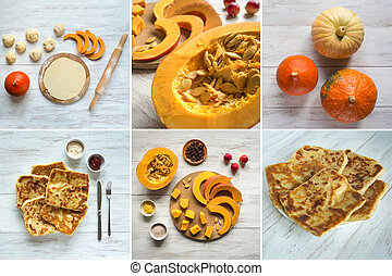 Collage showing the cooking Placinta with pumpkin.