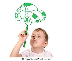 collage, sien, dessin, voiture, enfant