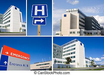 collage, sjukhus, nymodig
