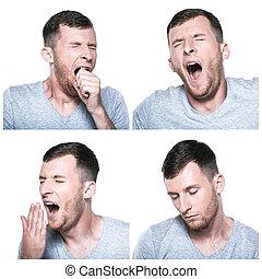 Collage, Slaperig, Uitdrukkingen, Moe, gezicht