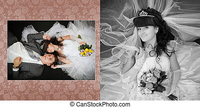 Collage - smiling bride and groom lying on bed