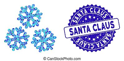 Collage Snow Icon with Grunge Santa Claus Seal