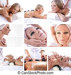 collage, sobre, belleza, balneario, y, asistencia médica