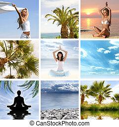 collage, sobre, salud, meditación
